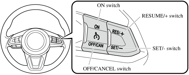 if your mazda has the following steering switch, your mazda is equipped  with the mazda radar cruise control (mrcc) system